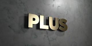 Добавочное - знак золота установленный на лоснистой мраморной стене - 3D представило иллюстрацию неизрасходованного запаса короле Стоковое Фото