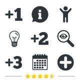 Добавочные значки Положительный символ Добавьте один больше знака иллюстрация штока