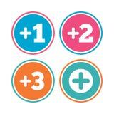 Добавочные значки Положительный символ Добавьте один больше знака бесплатная иллюстрация