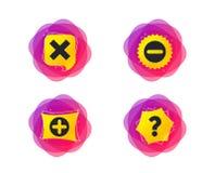 Добавочные и отрицательные значки Символ вопросы и ответы вопроса вектор иллюстрация штока