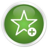 Добавьте к кнопке любимого значка наградной мягкой зеленой круглой Стоковое Изображение RF