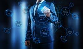 Добавьте к концепции электронной коммерции покупки магазина сети интернета тележки онлайн иллюстрация штока