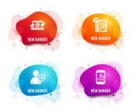 Добавьте потребителя, паркуя оплаты и тетради Copywriting значки Мобильный знак финансов вектор иллюстрация штока