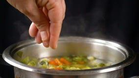 Добавьте соль к овощному супу, замедленному движению акции видеоматериалы