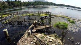 Добровольная чистка женщины загрязняла озеро погани и твердых частиц акции видеоматериалы