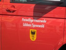 Добровольный пожарный ¼ LÃ bben Spreewald, Бранденбург, Германия Стоковая Фотография