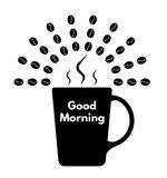 Доброе утро с кофе однокрасочным иллюстрация штока