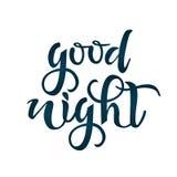 Доброй ночи текст сочинительства руки Каллиграфия, дизайн литерности Оформление для поздравительных открыток, плакатов, знамен Из Иллюстрация вектора