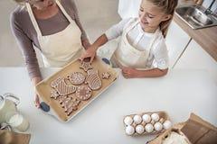 Добросердечная бабушка обрабатывая ее внучку помадками Стоковое Изображение RF