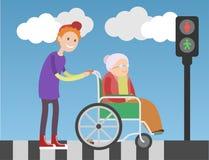 Добросердечный мальчик помогает пожилой женщине в кресло-коляске бесплатная иллюстрация