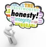 Добродетель искренности честности формулирует облако мысли мыслителя целостности иллюстрация вектора