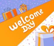 Добро пожаловать день помечая буквами квадратное знамя с подарочными коробками Иллюстрация оформления вектора шайки бандитов выче бесплатная иллюстрация