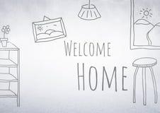 Добро пожаловать домашние чертежи с яркой предпосылкой бесплатная иллюстрация