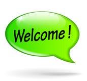 Добро пожаловать зеленая концепция пузыря речи Стоковая Фотография RF