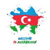 Добро пожаловать к Азербайджану ashurbanipal Флаг и карта страны бесплатная иллюстрация