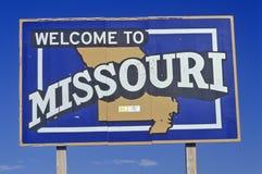 Добро пожаловать к знаку Миссури стоковое изображение rf
