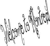 Добро пожаловать к иллюстрации знака текста Монреаля Стоковые Изображения