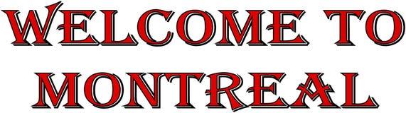 Добро пожаловать к иллюстрации знака текста Монреаля Стоковое Изображение