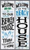 Добро пожаловать к нашему знаку пляжного домика Стоковое Изображение RF