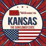 Добро пожаловать к плакату grunge Канзаса винтажному стоковые изображения rf