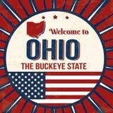 Добро пожаловать к плакату grunge Огайо винтажному иллюстрация вектора
