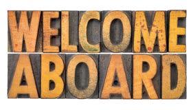 Добро пожаловать на борту в деревянном типе Стоковое Изображение RF