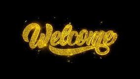 Добро пожаловать оформление написанное с золотыми частицами искрится фейерверки