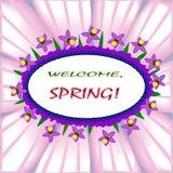 Добро пожаловать, состав весны с флористическим мотивом Стоковая Фотография