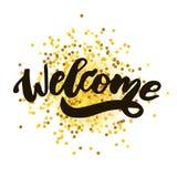 Добро пожаловать черное золото фразы каллиграфии литерности текста Стоковое Изображение