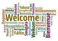 Добро пожаловать в различном векторе wordcloud языков Стоковые Изображения RF