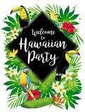 Добро пожаловать к гаваиской партии! Тропические птицы, цветки, листья Иллюстрация штока
