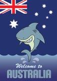 Добро пожаловать к иллюстрации карточки Австралии Стоковое Изображение RF