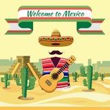 Добро пожаловать к Мексике иллюстрация штока