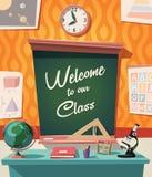 Добро пожаловать к нашим классн классному и оборудованию класс-школы Стоковое Изображение
