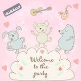 Добро пожаловать к партии - карточка концепции Сладостная карточка поздравлению внутри Стоковые Фотографии RF