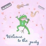 Добро пожаловать к партии - карточка концепции Сладостная карточка поздравлению внутри Стоковое Изображение RF