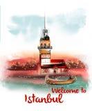 Добро пожаловать к плакату дизайна Стамбула винтажному на белой предпосылке Стоковое Изображение RF