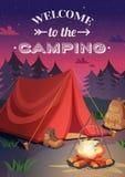 Добро пожаловать к располагаясь лагерем плакату иллюстрация штока