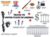 Добро пожаловать к США Символы Соединенные Штаты установленные иконы вектор Стоковое Изображение RF