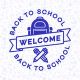 Добро пожаловать назад к карточке школы Стоковое Изображение RF