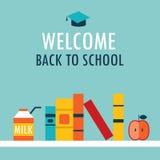 Добро пожаловать назад к книжной полке предпосылки школы с книгами надоите и яблоко Иллюстрация вектора