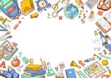Добро пожаловать назад к предпосылке школы схематичной Стоковое Изображение