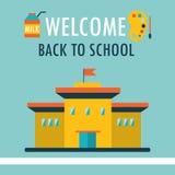 Добро пожаловать назад к шаблону дизайна предпосылки школы в плоском стиле Иллюстрация штока