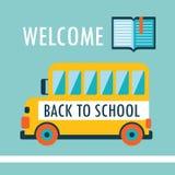 Добро пожаловать назад к шаблону дизайна предпосылки школы плоскому с книгой и schoolbus Иллюстрация штока
