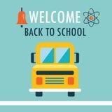 Добро пожаловать назад к шаблону дизайна предпосылки школы плоскому с книгой и schoolbus Бесплатная Иллюстрация