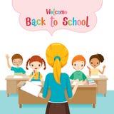 Добро пожаловать назад к школе с студентами учителя уча в Classro Стоковое Изображение