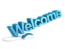 Добро пожаловать слово с голубой мышью Стоковое Изображение RF