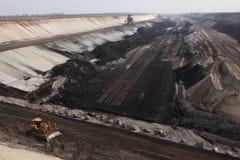 Добыча угля открытого карьера около Котбуса, Бранденбурга, Германии Стоковые Фото