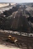 Добыча угля открытого карьера около Котбуса, Бранденбурга, Германии Стоковое Изображение