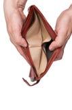 доведенные до банкротства пустые руки раскрывают бумажник Стоковые Фотографии RF
